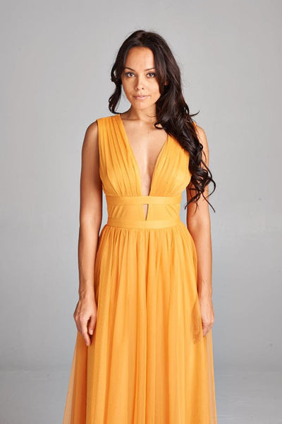 Grecian Goddess Bridesmaid Maxi Dress in Mustard Gold & Baton Rouge Magenta