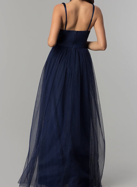Affordable Vanity Floor length Tulle Bridesmaid dress in navy, Blush and Mauve
