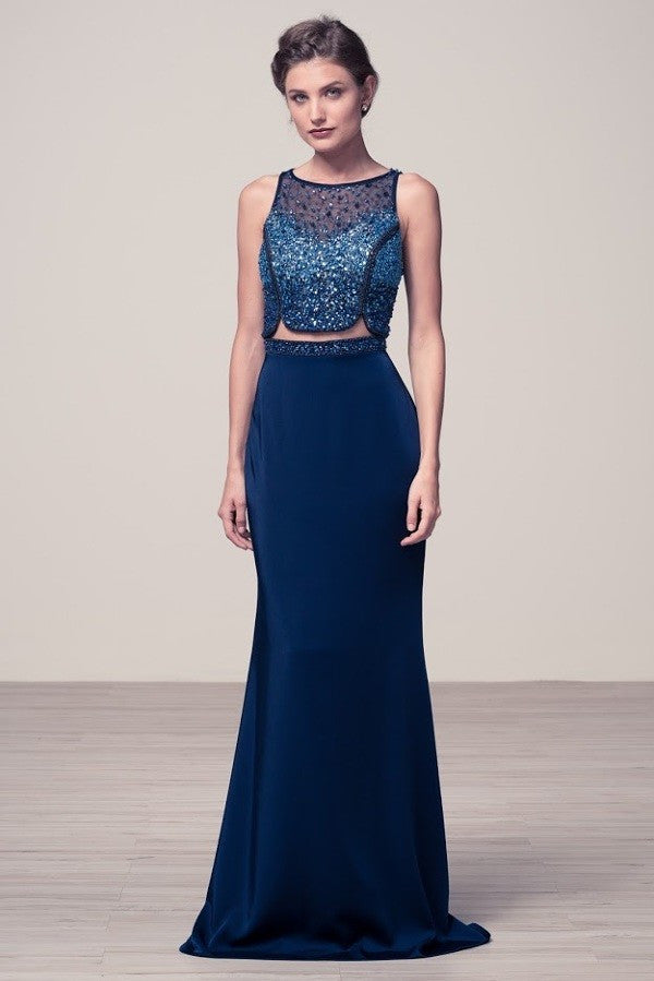 Unique Navy prom dress