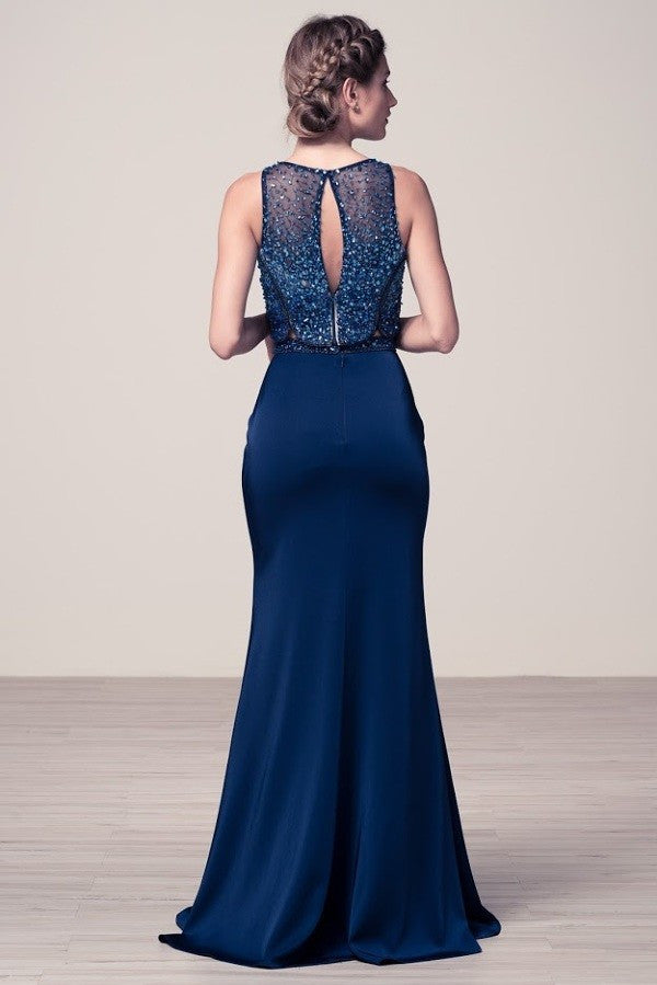 Embellished Mock 2 piece Navy Evening gown Prom Dress pageant party