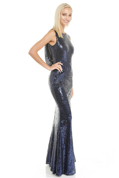 Affordable Goddess Rose gold and Navy Drape back Maxi Bridesmaid Dress