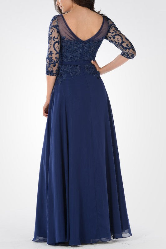Long Chiffon Mother of the Bride dress 3/4 sleeves Evening Gown
