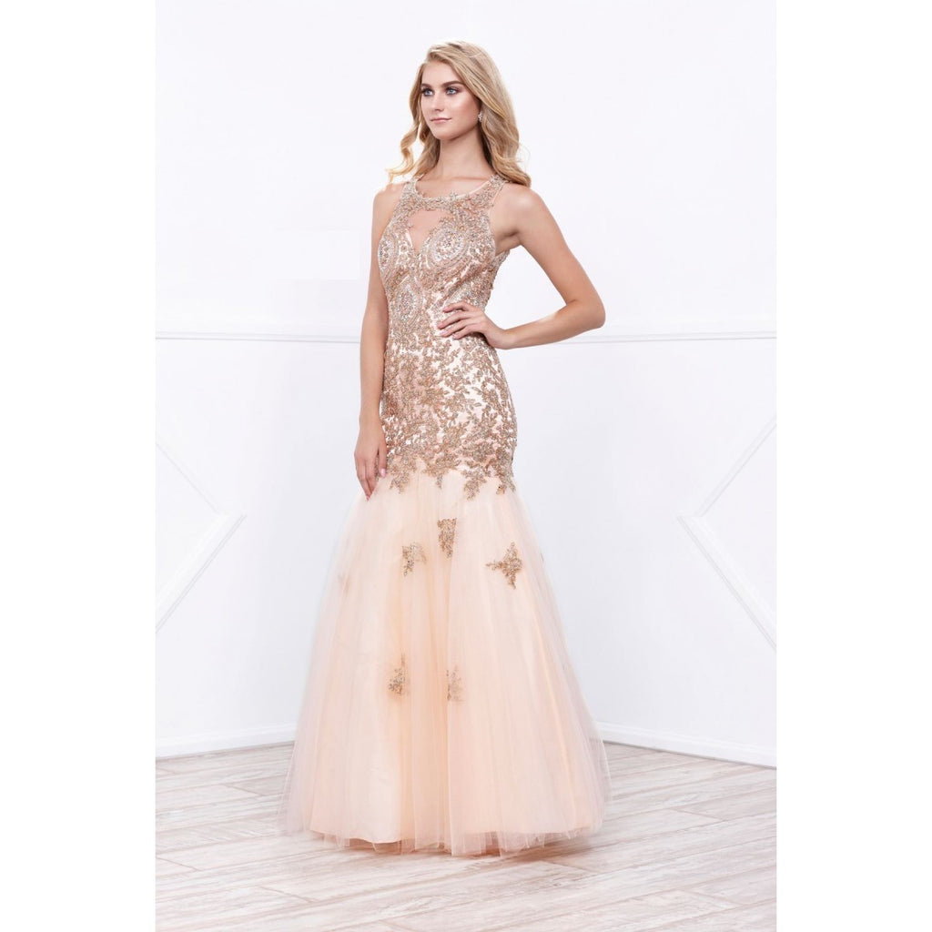 2017 Gold Tulle Trumpet Pageant gown Prom Evening Wedding ...