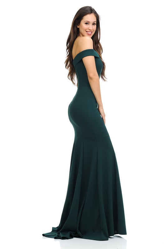 Hunter green off the shoulder Bridesmaid