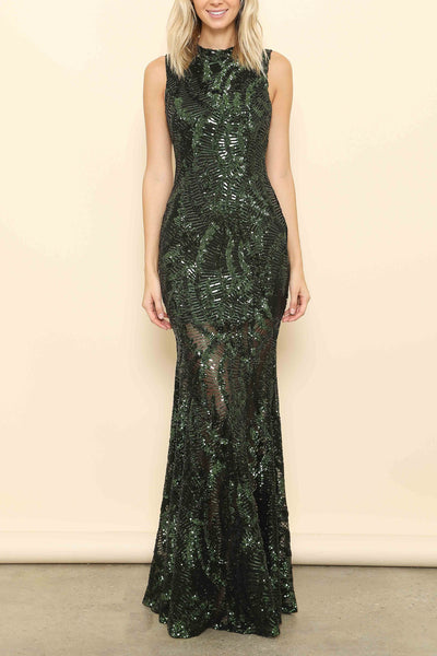 Grand Entrance Forever Unique Bea Olive Maxi sequin Wedding Guest Dress