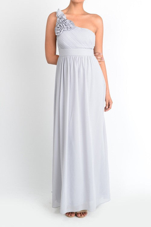 Affordable One Shoulder Gray Floor length Chiffon Bridesmaid Dress