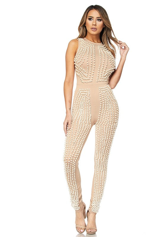 Unique Celebrity Pearl and Rhinestone Bachelorette Jumpsuit 3 colors