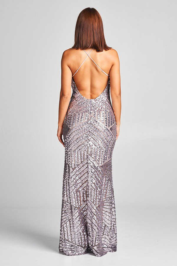 Pewter Geometrical Sequin Maxi Cocktail style Long and Short bridesmaid Dress in 3 colors