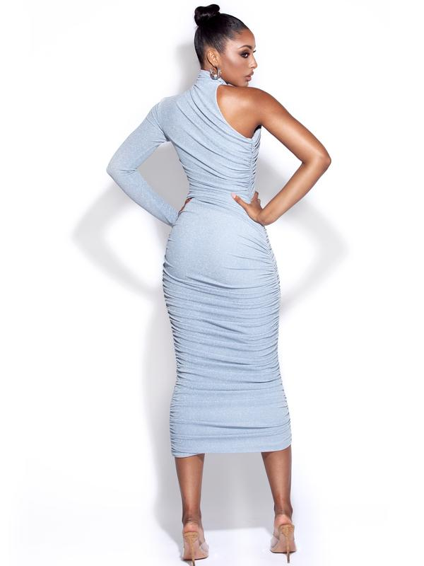Powder Blue one shoulder ruched dress