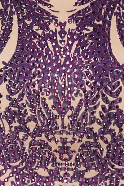 Celebrity Baroque Purple Rose Long Sleeves Bodycon Bachelorette Holiday Party Dress