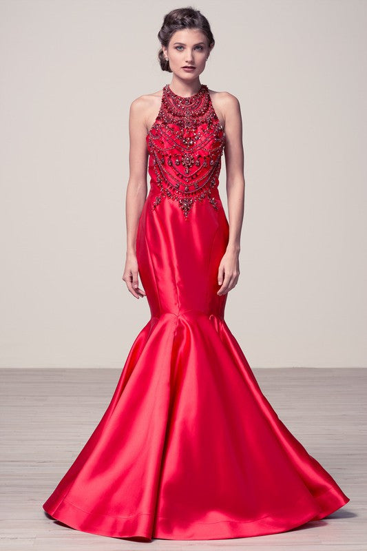 Baroque Red Carpet Wedding Engagement Dress Prom Mermaid Evening ...