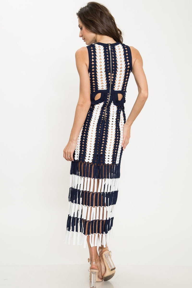 Runway Striped crochet-knit midi cutout wedding guest dress