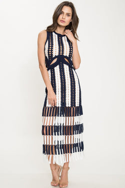 self-portrait crochet midi dress