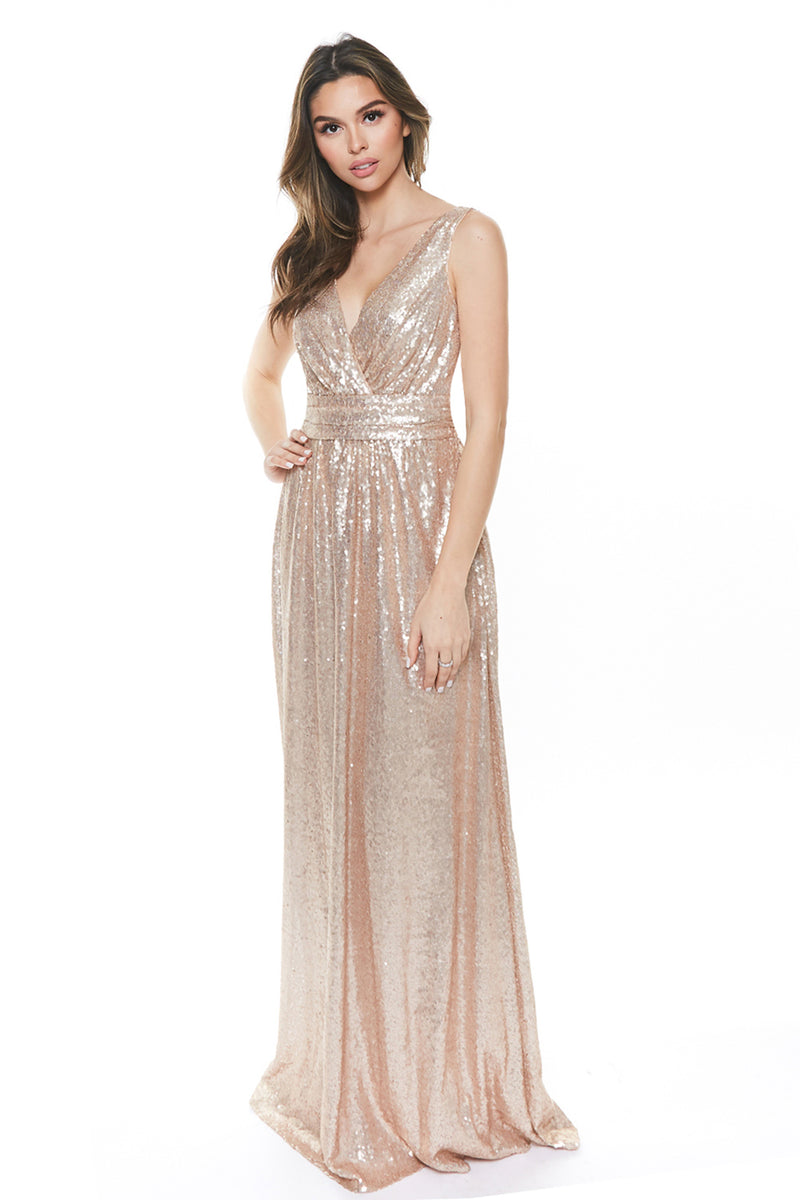 Rose Gold Sequined Bridesmaid Dress