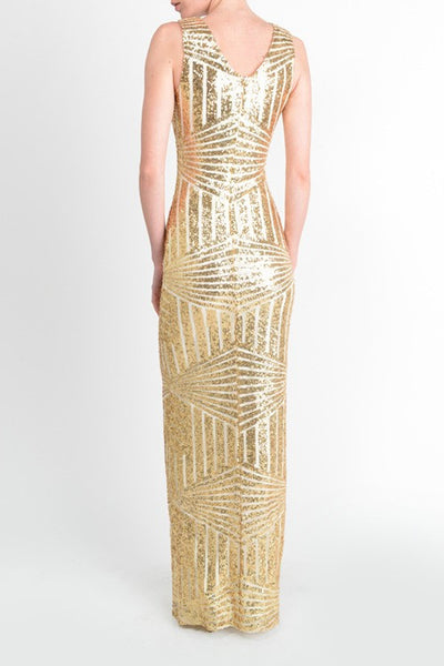 $ 75.00!! Affordable Floor Length Gold Sequin Bridesmaid Maxi Dress Evening Gown Prom dress