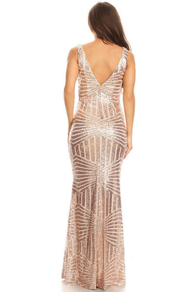 Floor Length Rose Gold Sequin Maxi Dress Bridesmaid Gown XS - 3XL