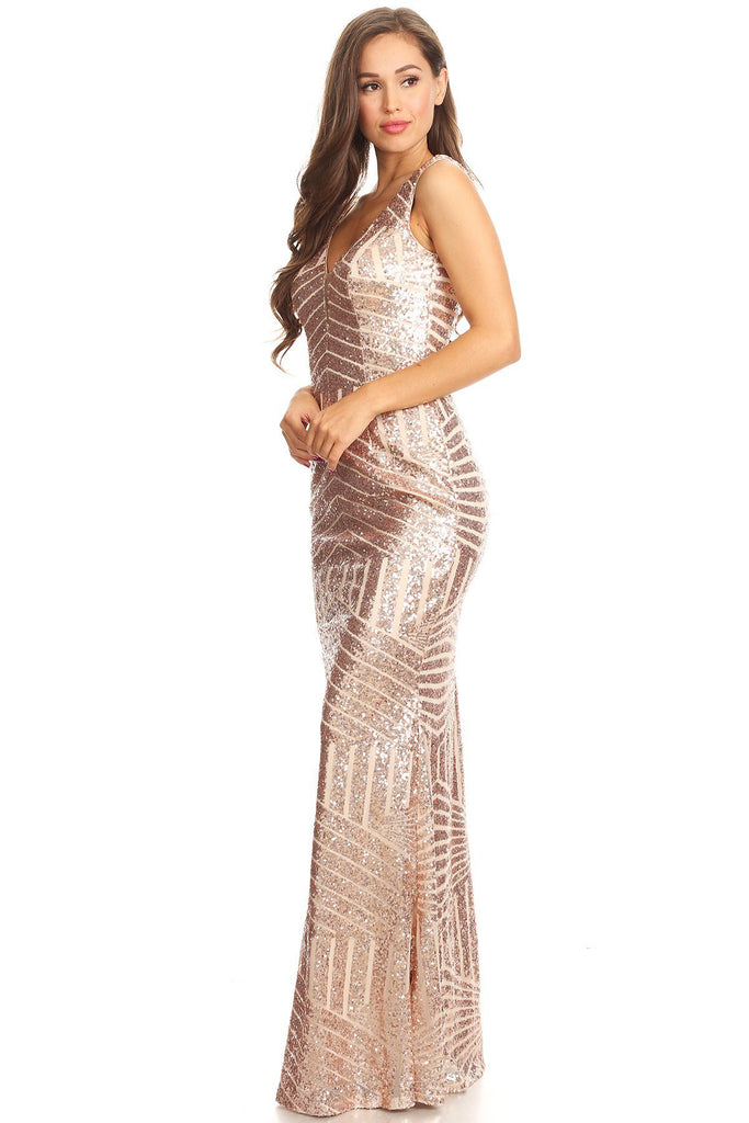 Floor Length Rose Gold Sequin Maxi Dress Bridesmaid Gown XS - 3XL ...