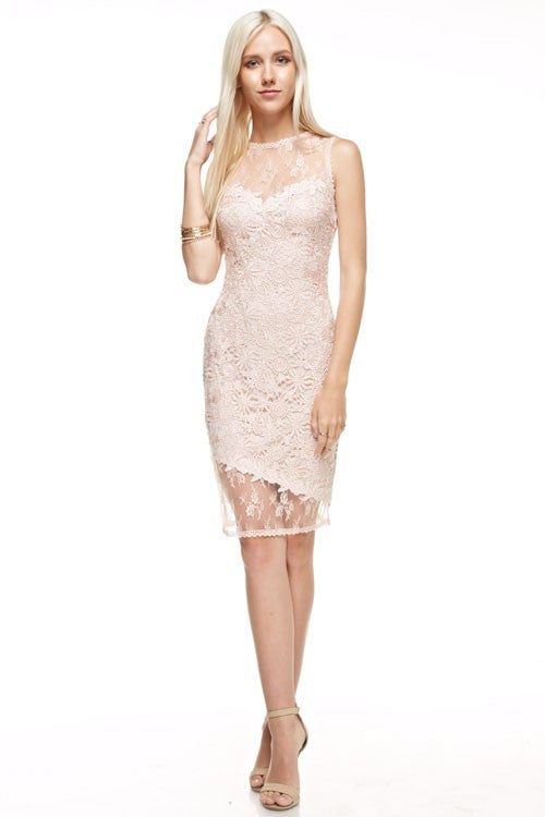 Affordable Midi Short Bridesmaid Dress in Blush and Navy