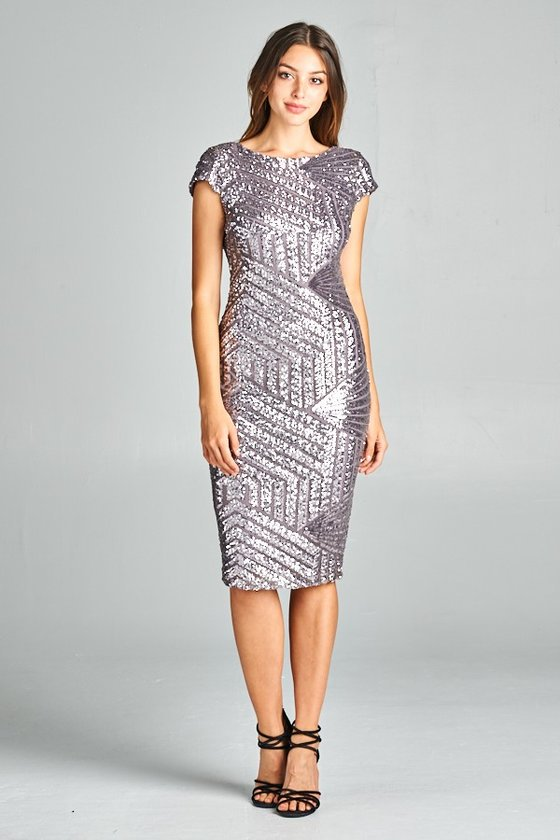 Pewter Geometrical Sequin Maxi Cocktail style Long and Short ...