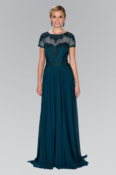 Affordable embroidered Illusion neckline Chiffon mother of the bride gown