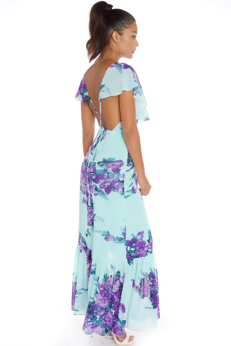 2017 Floral Spring/Summer Turquoise Lavender fields Maxi Bridal Shower Dress
