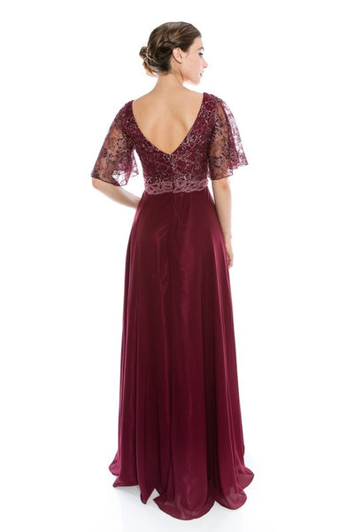Floor Length Chiffon Burgundy Mother Of The Bride Groom
