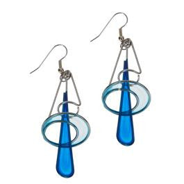 Triangle & Hoop Blue Hue Earrings