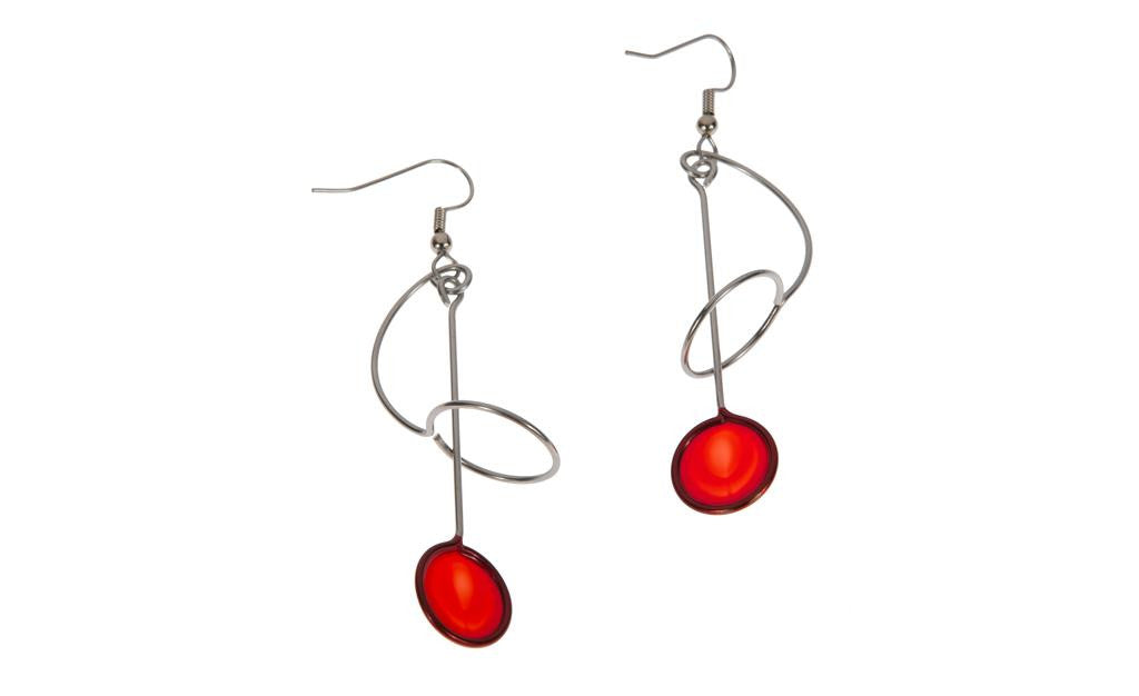 Hoop & Circle Red Earrings