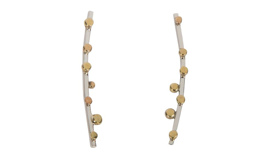 Elongated Silver with Brass Bulbs Earrings