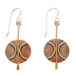 Copper Disk & Brass Earrings