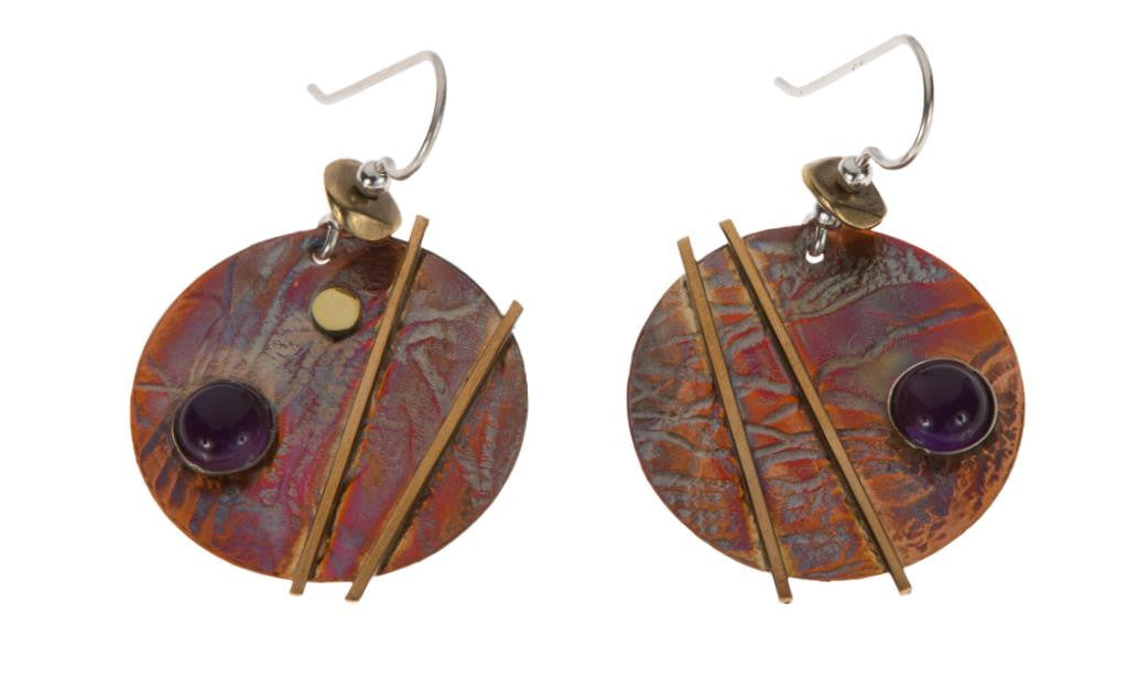 Amethyst Brass Copper Earrings