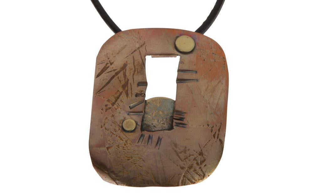 Hand Etched Copper Brass Necklace
