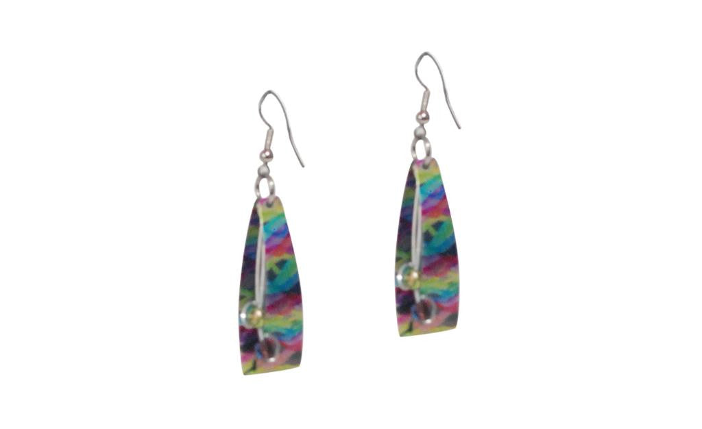 Reversible Blue/Multi Color Earrings -Original Print