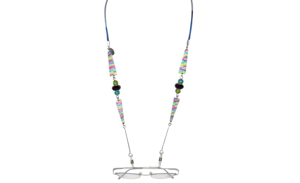 Reversible Blue/Multi Color Eyeglass Holder Necklace