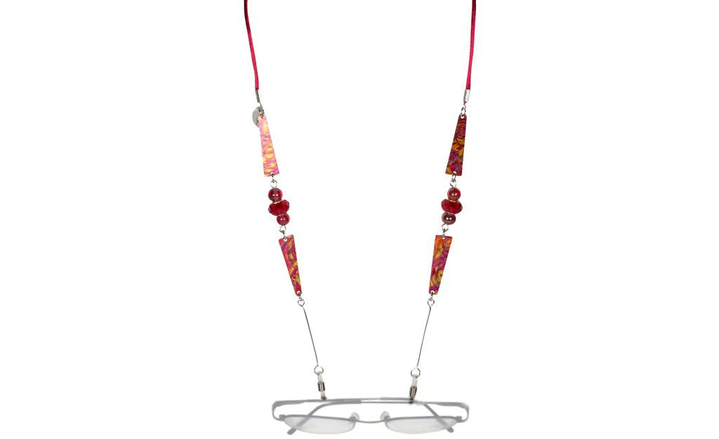 Reversible Burgundy/Red Eyeglass Holder Necklace