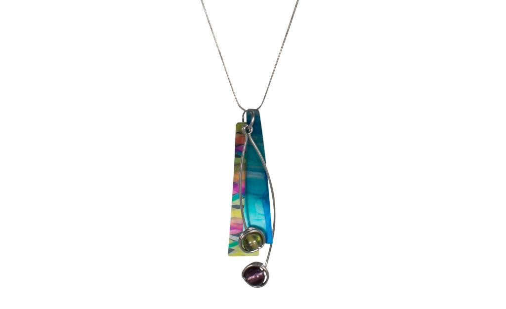 Reversible Blue/Multi Color Necklace
