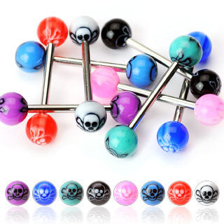 Surgical Stainless Steel Tongue Barbell with Skull Inlay Acrylic Balls (14g)