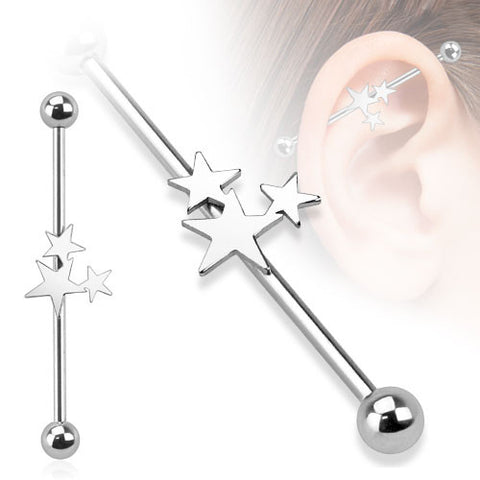 Surgical Stainless Steel Industrial Barbell with Three Stars Design (14g) 1.5""