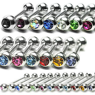 Surgical Stainless Steel Tongue Barbell with Press Fit Gem (14g)