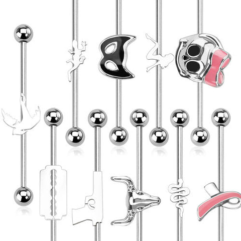 Surgical Stainless Steel Industrial Barbell Various Styles (14g) 1.5""