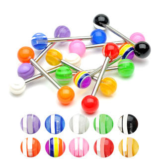 Surgical Stainless Steel Tongue Barbell with Multi Striped Acrylic Balls (14g)
