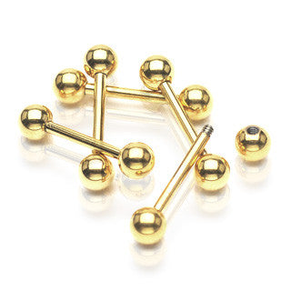 Gold Plated Surgical Stainless Steel Cartilage/Tragus/Ear Barbell (16g) 1/4""