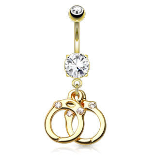14 kt Gold Plated Stainless Steel Dangle Navel Ring with Handcuffs (14g) 3/8""