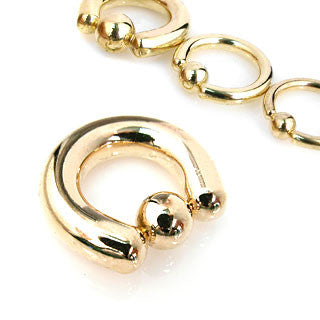 Gold Plated Surgical Stainless Steel Captive Bead Rings (8g through 2g), Universal Piercing Type, Pair