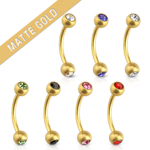 "Matte Gold Plated Surgical Stainless Steel Eyebrow Curved Barbell with Round Gem (16g) 5/16"" and 3/8"""