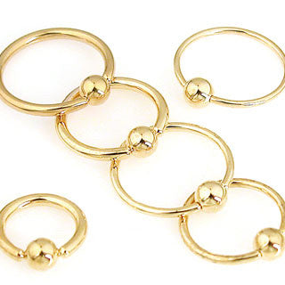 Gold Plated Surgical Stainless Steel Captive Bead Rings (14g and 16g), Universal Piercing Type, Pair