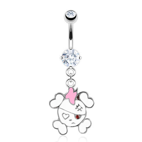 Surgical Stainless Steel Dangle Navel Ring with Enamel Colored Sweet Pirate Skull & Crossbones (14g) 3/8""