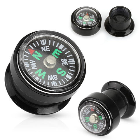 Acrylic Screw Fit Plugs with Compass, Pair