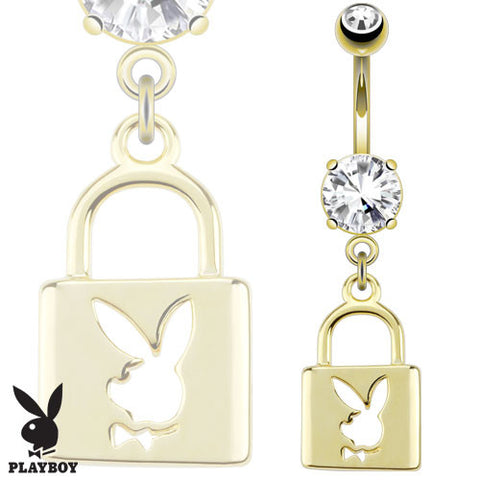 14 kt Gold Plated Stainless Steel Dangle Navel Ring with Playboy Bunny Die-Cut Lock (14g) 3/8""
