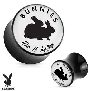 "Acrylic Double Flare Plugs with ""Bunnies Do it Better"" Playboy Design, Pair"